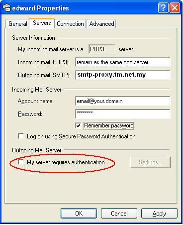 Setting up SMTP proxy for email client