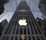 The leaf on the Apple symbol is tinted green at the Apple flagship store on 5th Ave in New York April 22, 2014.  Credit: Reuters/Brendan McDermid/Files