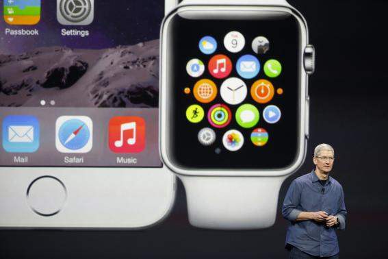 Apple CEO Tim Cook speaks during an Apple event announcing the iPhone 6 and the Apple Watch at the Flint Center in Cupertino, California, September 9, 2014.