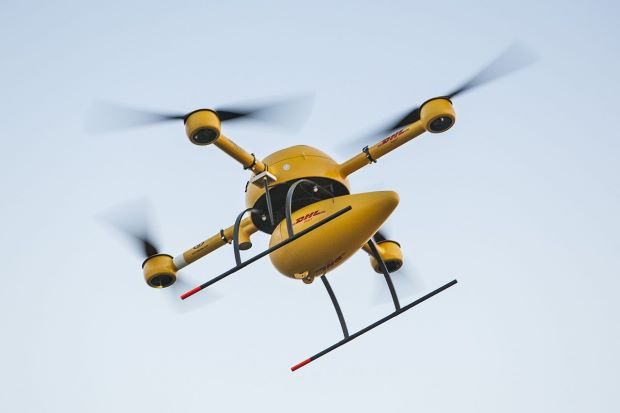 Next targets: Companies like Amazon, DHL and UPS are expected to use drones for package deliveries – becoming potential targets for criminals, the report said. — Deutsche Post/DHL